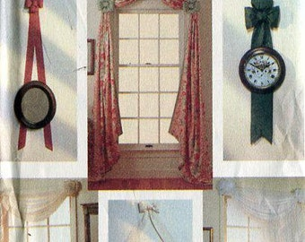 Free Us Ship Vogue 7930 Window Treatments 1990 Bow Wall Hangings Curtains & Door Bows Trim Holiday Door Sewing Pattern Uncut Out of Print
