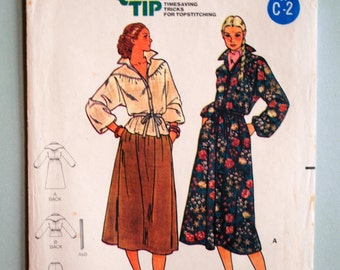 Vintage 1980s Misses Collar Front Button Gathered Yoked Elastic Waist Pockets Dolman Sleeves Dress Top & A-Line Skirt Size 10 Sewing Pattern