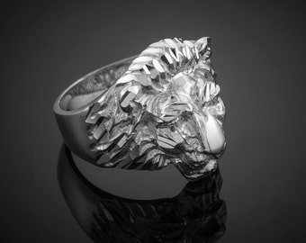 Sterling Silver Lion Ring - Silver Lion Head Mens Ring - Leo Ring