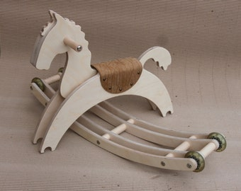 Wooden Rocking Horse with wheels, Gift for Kids, Wooden Eco friendly kids toy, Free shipping