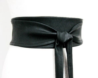 BESTSELLER Black Obi belt wide leather imitation Waist cincher / Statement accessory / double wrap