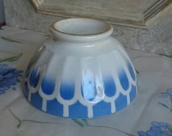 Vintage Café au Lait, French Breakfast Bowl, Blue and Cream, Geometric Design,