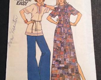 "Butterick 3590 Vintage Sewing Pattern Womens Maxi Dress Caftan Tunic 1970s 32.5"""