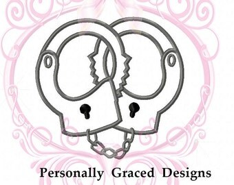 Instant Download Handcuffs Applique Embroidery Design 5 Sizes 3in, 4in, 5in, 6in, Police Applique, 4x4 5x7 6x10 Handcuffs Embroidery Design