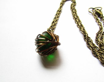 Wire wrapped Necklace, Green Marble Necklace, Beer bottle glass, Upcycled Glass Necklace, Women's, Recycled, Accent Necklace, Unique