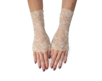 Wedding Fingerless gloves, light beige gloves,ivory fingerless gloves, fingerless gloves Wedding Fingerless gloves