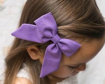 Purple Floral Sailor Bow - Sailor Bow - Sailor Bow Clip - Sailor Bow Hair bow - Purple Floral Sailor Bow Clip - Purple Floral Bow
