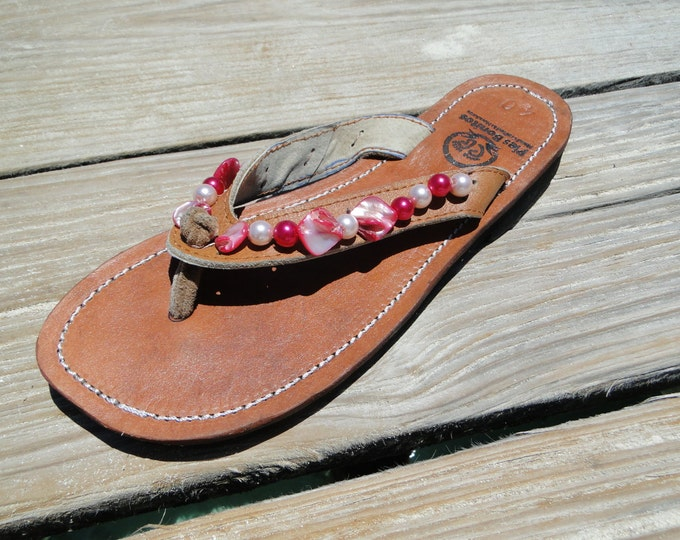 Handcrafted Beaded Leather Sandals - Pink Shell Beads - Fair Trade - Brown Leather Flip Flop Sandals - From Honduras - Free Shipping