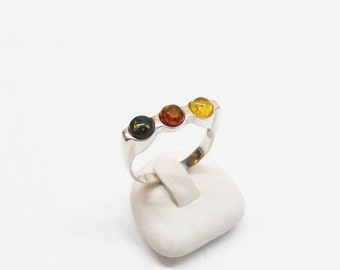 Baltic amber ring amber ring 925 Silver ring 19.5 mm, size 9.5 tricolor SR477
