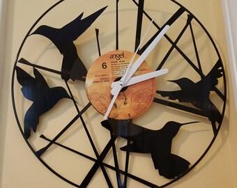 Humming Birds Vinyl Record Clock, Humming bird Clock, Humming Bird Wall Clock, A Birds Nest, Bird Art, Custom Clocks, Humming birds branch