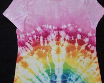 Tie-Dyed T-Shirt, Pink/Rainbow Burst, Adult XL (16 - 18)