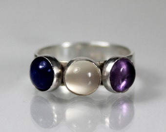 Tranquil Gemstone Trio Band, Sterling Silver Ring, Amethyst Moonstone Sodalite, Semi Precious Gemstone Trio, Gifts for Her, Bridesmaids
