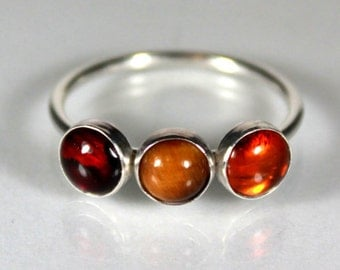 Fire Stones Gemstone Trio Ring, Sterling Silver Ring, Statement Ring, Semi Precious Gemstones, Semiprecious, Warm, Earthy, Red Orange Brown
