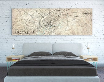 KNOXVILLE TN Canvas Print Tennessee TN Vintage map Knoxville Tn City Horizontal Wall Art Vintage map Panoramic housewarming gift idea