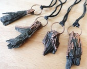 Black Kyanite Electroformed Pendant, Copper Formed Raw Kyanite Pendant, Electroform Gemstone Boho Natural Jewelry