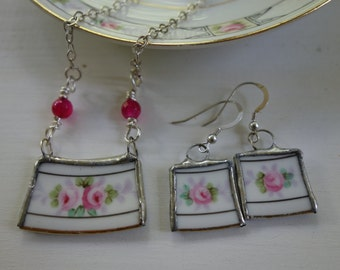 Broken china jewelry, broken china necklace and earring set, broken plate jewelry,  pink flower necklace, pink flower earrings