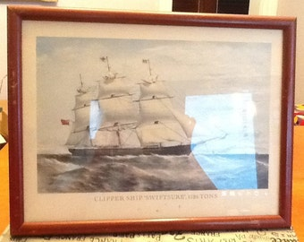 Vintage (c.1960s) color print, framed under glass of the British Clipper Ship Swiftsure.