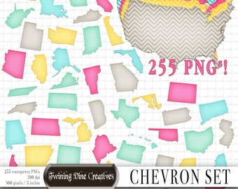 State Map Clipart, State Shapes, Chevron Pattern, Digital State Shapes, State Silhouette, Commercial Use, US State Shapes, Pink, Transparent