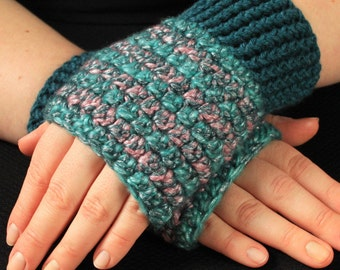 Shimmery Teal and Pink  Fingerless Mitts/Texting Gloves - M/L