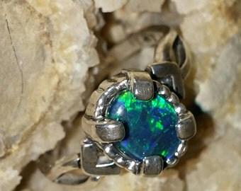 australian black opal triplet ring