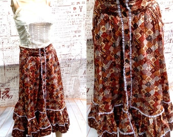 70's GRANNY PATCHWORK LACE Long Ruffled Hippie Skirt