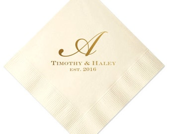 Initial Monogram Personalized Wedding Napkins