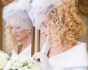 White Polka Dot Birdcage Veil Short Spotted Veil White Wedding Veil Bridal Veil Short Polka Dot Veil Short Veil Vintage Veiling blusher