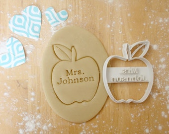 Personalized Teacher Apple 3D Printed Cookie Cutter | Teacher Gift
