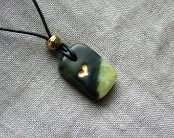 Soapstone pendants necklace * lovely hearts * with sheet metal