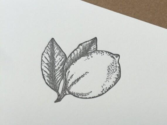 Lemon Letterpress Stationery Set (1 color)