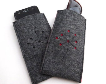 Cell phone case, sunglasses case, wool felt case, glasses case, gray, two colored phone case, iPhone case, phone sleeve Samsung