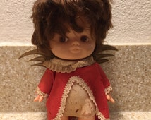 1960s Dream Doll - Angel - Brunette - R. Dakin & Co. San Francisco- Vintage Toy Doll - Product of Hong Kong - Gold Wings - Red Dress