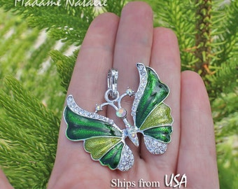 Green Butterfly Pendant, Green Enamel and Rhinestone Butterfly Pendant, Green and Silver Butterfly, Butterfly Pendant in Shades of Green
