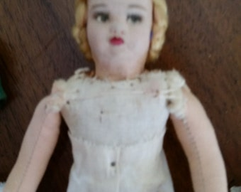 Vintage Cloth Doll Paper Mache Hand Painted Face