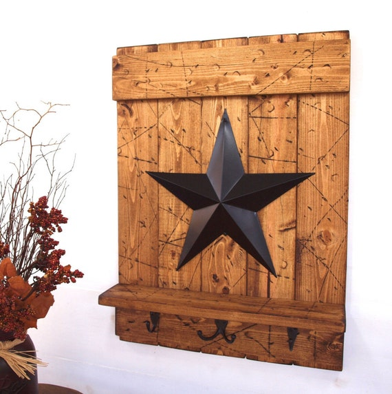 Star Hook Shelf with Hooks; Light Brown Wood, Black Barn Star; Rustic Country, Primitive, Vintage Farmhouse Antique Decor