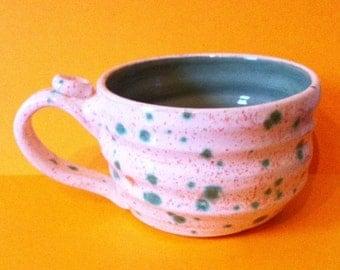 Handmade ceramic mug / teacup rustic green speckled glaze valentines gift