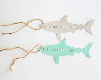 Shark Tag, Shark Party, Shark Birthday, Ocean Birthday, Beach Birthday, Thanks for Coming Tag, Set of 10