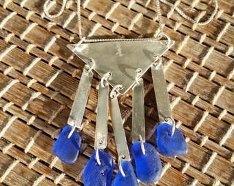 Cobalt Blue Sea Glass Necklace. Cobalt Blue Sea Glass Earrings. Cobalt Blue Sea Glass Jewelry Set. Blue Sea Glass Sterling Silver Necklace
