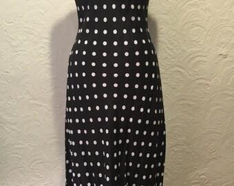 Vintage Dress- Vintage Harlow Black and White Polka Dot Long Dress with Tie Back