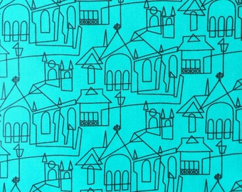 One Yard , Laminated , Cotton , Fabric , David Textiles , Mid Century , Churches and Buildings , Turquoise , Discounted , Discontinued
