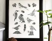 Birds - handmade original of 7 different birds, handprinted