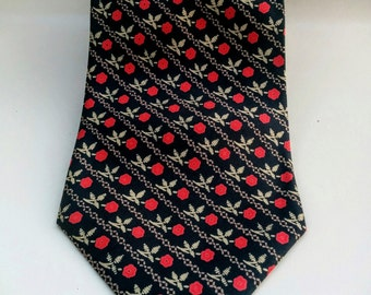 "90's Rose Silk Tie/Italian Silk/Geoffrey Beene/Designer Neck Tie/Men's Fashion Tie/Italian Silk/Business Tie/Office Tie/59""Long/4""Wide"