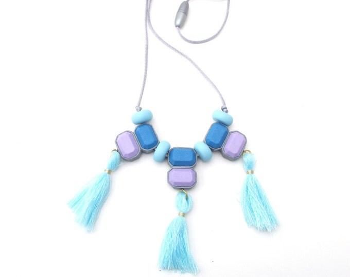 TASSEL FLING NECKLACE// Statement polymer clay necklace// Blue and purple tassel bib necklace// Little Tusk  tassel necklace// #SN3037