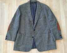 Vintage BROOKS BROTHERS Sack Wool Tweed Glen Plaid Sport Coat Large 44R 3/2 Roll Ivy League Trad