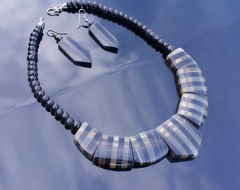 Buffalo Horn Jewelry Organic Horn Necklace and Earrings