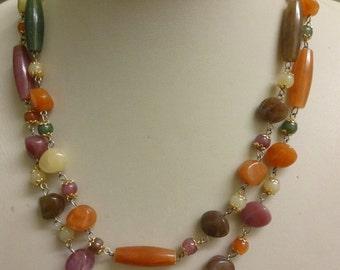 Vintage Lucite Neckace, Faux Gemstone Necklace, Art Deco Flapper Necklace Style