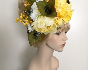Beehive Floral Wig Headpiece - Shag Mod Beehive, Yellow, Golden, Blonde, Bees, Bumblebee, Fairy, Fae, Goddess, Nymph, Costume, Cosplay, Drag