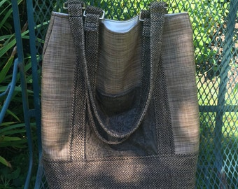Leather/Sunbrella Tote