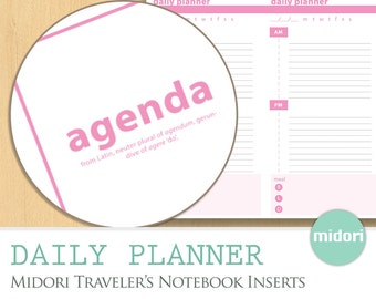 MIDORI INSERTS - Daily Planner Stylish Pink, Calendar Agenda, Task Deadlines Meal Everyday, Printable Download Notebook Journal Organizer
