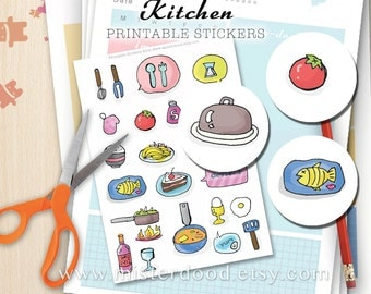 KITCHEN Printable Sticker, Cute Kawaii Doodle Food Utensils Tomato Fish Rice Clipart, Scrapbook Planner Diary Journal, Instant Download Art